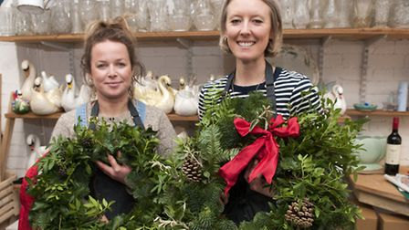 Anna Day & Ellie Jauncey of The Flower Appreciation Society making Christmas wreaths at their works