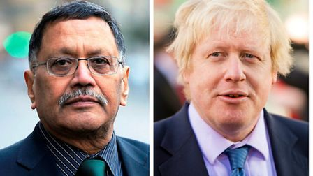 Navin Shah, left, has accused Boris Johnson, right, of risking fire response times and the safety of
