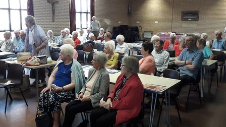 A general scene in the Stella Maris Hall, Lowestoft, as the Lowestoft Evacuees Committee annual summ