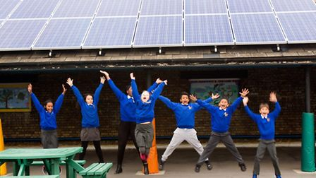 Sixteen solar panels have been installed on the roof of Islington'�s Robert Blair Primary school, ge