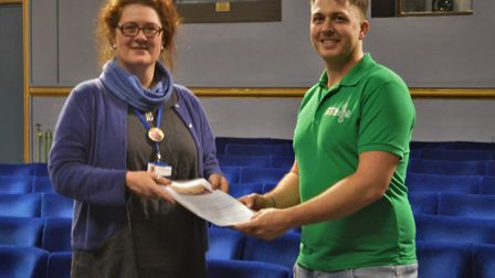 Emma Butler Smith, Marina Theatre chief executive and Sam Porter, from Lowestoft Foodbank. Picture: