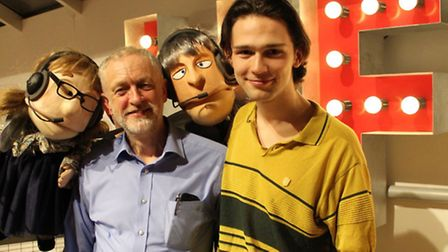 Mr Corbyn and Alex Hope pictured with Fairy Jane and Fairy John at Park Theatre