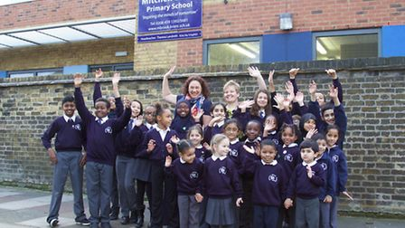 Theresa Landreth with pupils from her school (Pic credit: Adam Tiernan Thomas)