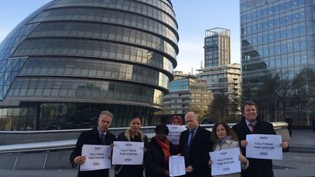 Handing in the petition against the closure of Caledonian Road Station: Cllr Paul Convery, Cllr Clau