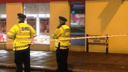 Police officers at the scene in Manor Park Road (pic: Hannah McGrath)