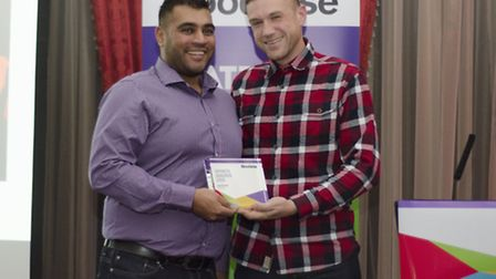 Anil Pindoria was presented with his award by cancer survivor and evening host James Golding
