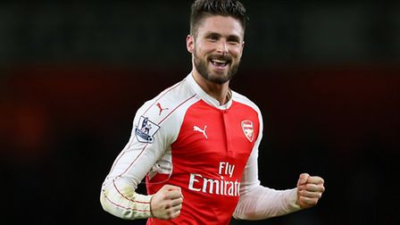 Arsenal's Oliiver Giroud celebrates victory over Manchester City