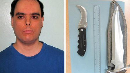 Lukas Vongyer amd two of the deadly weapons found in his home