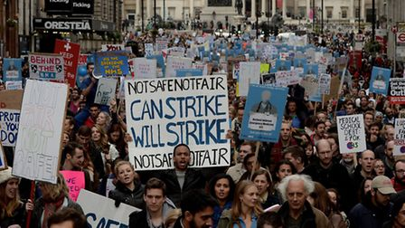 Junior doctors at a rally in central London last month