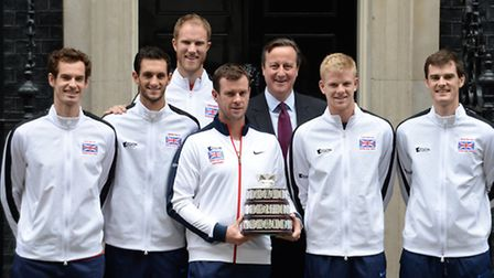 James Ward (second from left) poses with Great Britain's victorious Davis Cup squad and Prime Minist