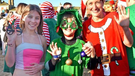 Festive dippers in Lowestoft went all out in full fancy dress on Christmas Day Picture: Mick Howes