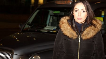 Jade Georgiou was locked and trapped in a black cab as driver refused to let her dash to her flat to