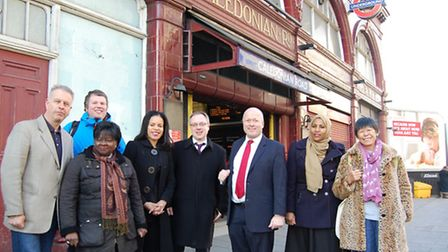 Islington councillors and members of the public outside Caledonian Road Station on Tuesday, after Tf