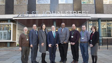 Outside Finsbury Library. Centre: Islington Council leader Richard Watts with Clerkenwell ward Cllrs