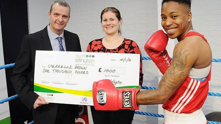 Cherrelle Brown with Helen Sudall of the Joanna Brown Trust (centre) and Islington Schools Sports As