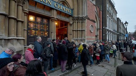 Ticket holders queue to enter the David Bowie tribute concert at Union Chapel in Islington. Picture: