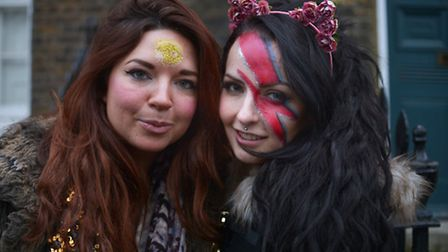 Olivia Grist and Louise Gilmour (with an Aladdin Sane lightning bolt), from Glasgow, with painted fa