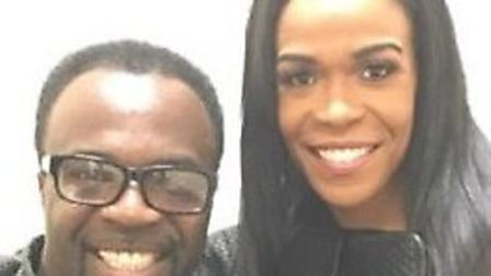 michelle Ruacj City Church's Bishop Francis poses with Michelle Williams (Pic credit: Twitter bishop