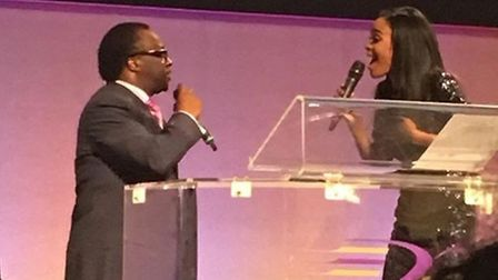 Michelle and Bishop Francis perform for worhsippers at Ruach City Church in Kilburn