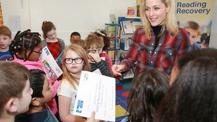 Gillian Anderson visited William Tyndale School in Islington for the launch of the �Read Aloud� lite