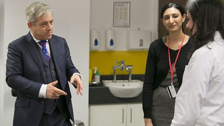 House of Commons Speaker John Bercow is given a tour of one of the new clinics at City University Lo