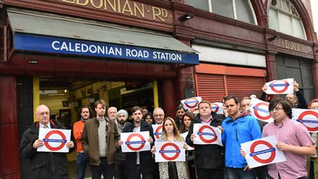 The petition against closing Caledonian Road Station was led by Nigel Scott, far left, with thousand
