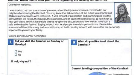 """Kensal rise residents have criticized the MP's Notting Hill Carnival survey for """"leading"""" questions"""