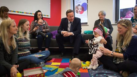 Prime Minister David Cameron meets parents and their children at a prenatal class run by Islington's
