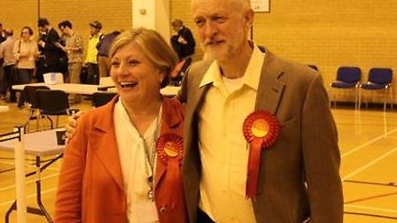 Emily Thornberry and Jeremy Corbyn after they were re-elected in May