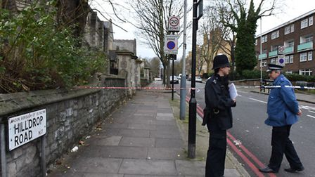 Hilldrop Road, approaching Hilldrop Crescent, was still cordoned off this morning