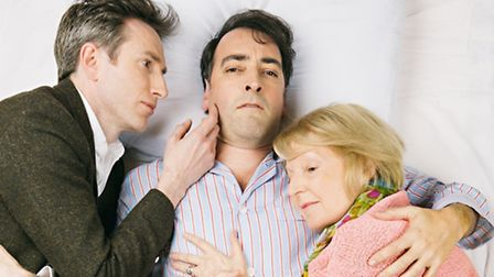 Daniel Weyman, Alistair McGowan and Maggie Ollerenshaw in rehearsals for 4000 Days. Picture: Rory Li