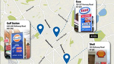 Petrol prices in Holloway. Graphic: Kayleigh O�Dell