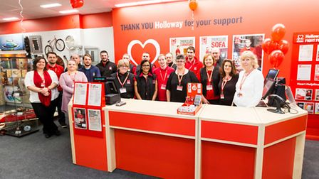Staff and volunteers at the new BHF furniture and electrical store in Holloway