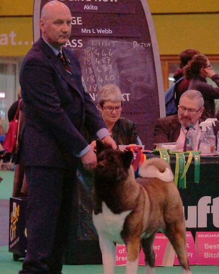 Robert Stuhldreer with Flora at the Crufts dog show