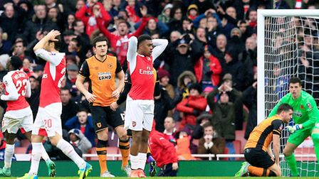 Arsenal's Alex Iwobi rues a missed chance in the FA Cup tie against Hull City