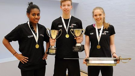 Fighting Fit fencers (left to right) Yasmin Campbell, Dominic de Almeida, Kate Beardmore. Pic: Diete