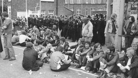 Supporters of the 'strikers in saris' assemble outside the Grunwick factory to support the demand fo