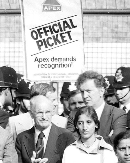Engineering Union leader Hugh Scanlon, who joined the pickets at the Grunwick film processing plant