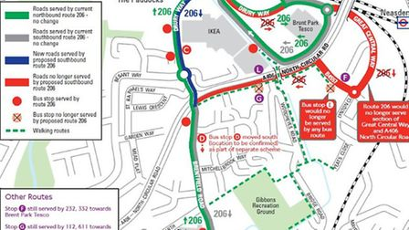 TFL's planned changes to the 206 bus route (Pic: TfL)