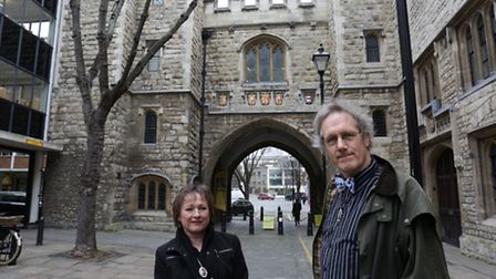 Simon Jones and Denise Gillard-Parrin at St Johns gate