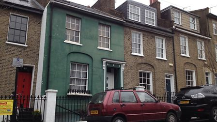 Raymond Lister's house, with green paintwork, pictured this morning in Ripplevale Grove, Barnsbury,