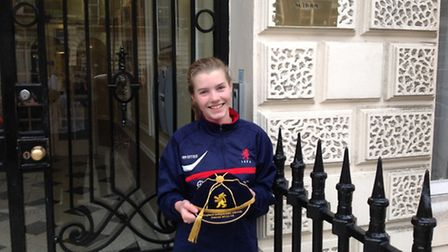 Freya Glen with a Scottish cap from last week's U17 game against Iceland