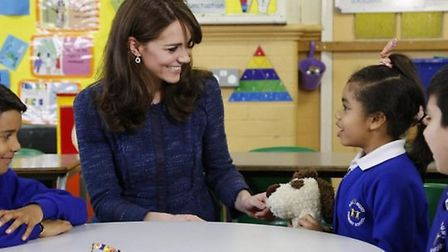 The Duchess engaged with the young pupils as she shot a video at Salusbury Primary School as part of