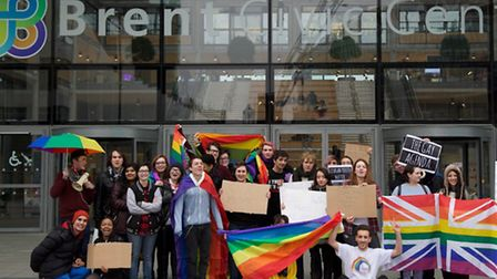 LGBT youth group MOSAIC gathered outside Brent civic centre on Wednesday to campaign against council