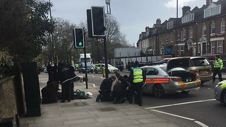 The crash on Tuesday afternoon (Picture: @999London)