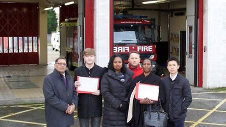 Dawn Butler with Navin Shah their petition not to axe an engine at Willesden Fire Station