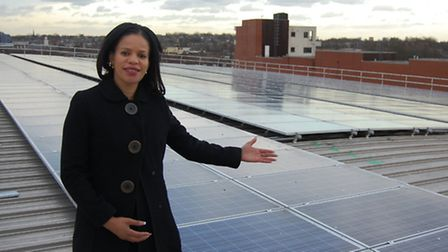 Cllr Claudia Webbe with the solar panel array at Islington's Reuse and Recycling Centre. Picture: Is