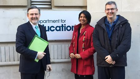 Barry Gardiner MP with Suzanne D'Souza and Martin Dickens