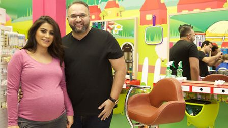 Louise Hadi and Ajay Kawa celebrated the opening of the kids-only Snip Kidz salon in Willesden on Sa