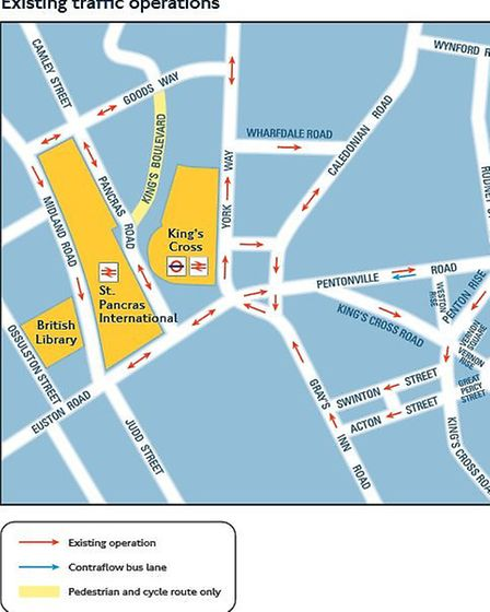 The exisiting road system around King's Cross. Picture: TfL